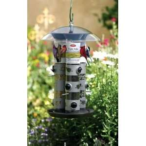 Triple Tube Bird Feeder   Charcoal   11 lb Patio, Lawn