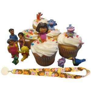 Dora Explorer Family & Friends Birthday Cake Cupcake Toppers