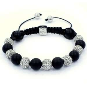 () High Quality BLACK Agate & Crystal beads