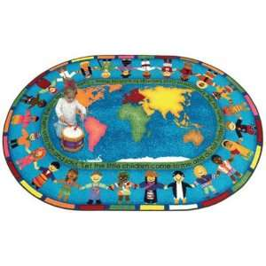 Joy Carpets Let the Children Come Kids Area Rug, Blue Rugs