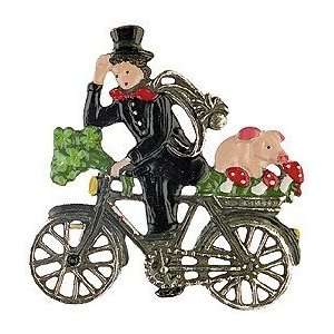 Biking Chimney Sweep German Pewter Christmas Ornament
