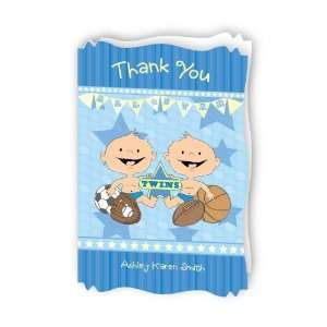 Twin All Stars   Personalized Baby Thank You Cards With
