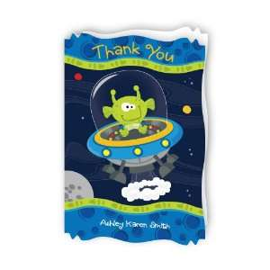 Lil Space Alien   Personalized Baby Thank You Cards With