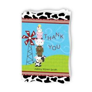 Farm Animals   Personalized Baby Thank You Cards With