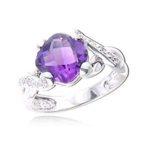 WHITE GOLD Cushion Cut Amethyst With White Gold Diamond Ring Diamond