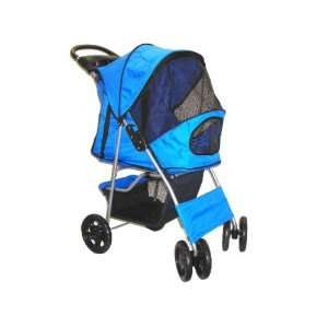 4 Wheel Deluxe Pet Dog Cat Stroller Blue