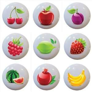 Set of 9 Colorful Fruit Ceramic Knobs Pull Kitchen Drawer Cabinet