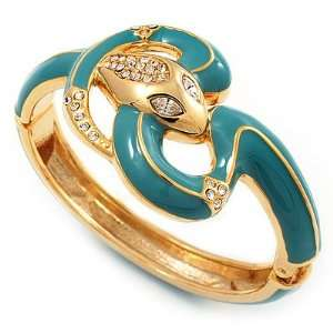Plated Crystal Turquoise Enamel Hinged Snake Bangle Bracelet Jewelry