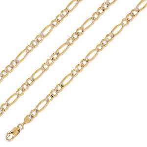 Long SOLID 14k Two Tone Gold Figaro Pave Chain 5mm 24