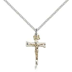 Two Tone Gold Filled and Sterling Slver Nail Crucifix Medal Pendant 7