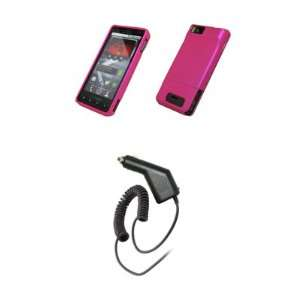 Motorola Droid X MB810   Hot Pink Rubberized Snap On Cover
