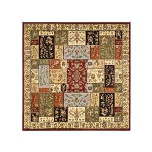 Collection LNH318A Multicolor Square Area Rug, 8  Feet