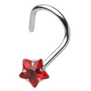 20g Surgical Steel Nose Ring Screw Body Jewelry Piercing with Red Star
