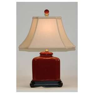 Oxblood Red Porcelain Rectangular Table Lamp