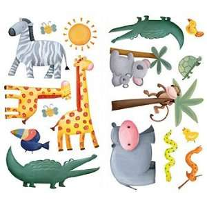 Jungle Animals Wall Stickers   29pc Peel and Stick Wall