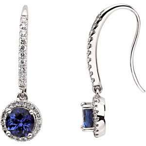 PAIR 06.00 MM/ 3/8 CT TW Genuine Tanzanite & Diamond Earrings Jewelry