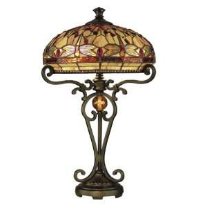 Dale Tiffany TT10095 Dragonfly Table Lamp, Antique Golden Sand and Art