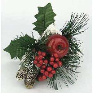 12 Red White Christmas Apple Berry Pine Cone Pick