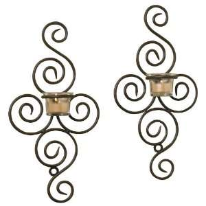 2pc Danielle Wrought Iron Wall Sconce Set