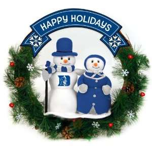 Blue Devils Happy Holidays Snowman Christmas Wreath