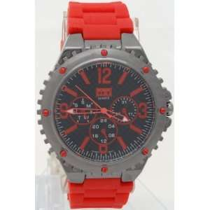 Mark Naimer Quartz Chronograph style Look Gun Metal Case Red Silicon