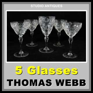 THOMAS WEBB GLASSES Wine Water Goblet FLORAL CUT GLASS Vintage WEB48