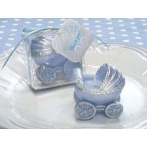 Adorable Blue Baby Carriage Candle Baby