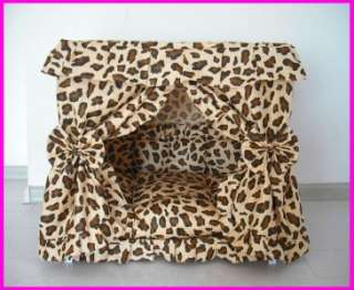 Leopard Print Pet Dog Cat Handmade Bed Furniture House + pillow