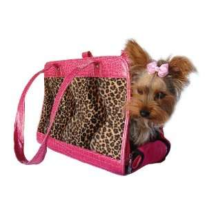 Dog Cat Leopard Print Pet Carrier W/Pink Trim Small Pet